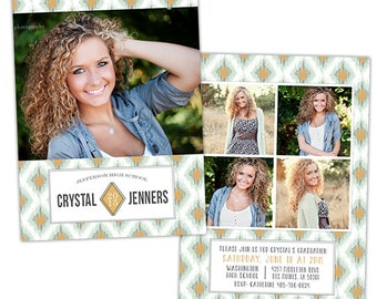 Senior Graduation Announcement Photo Card Template for Photographers - Photoshop Templates for Photographers - Photo Card Template - GD124
