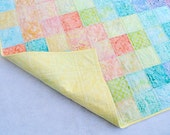 Paint Box Baby Quilt, Pastel Color Palette with YELLOW, Twins, Triplets, Babies, Toddlers, Throw Quilt