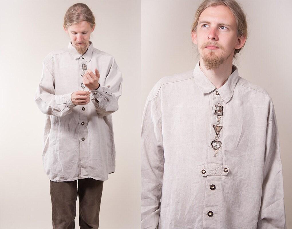 herrenhemd emobroidered leinen ethnischen folk herren shirt. Black Bedroom Furniture Sets. Home Design Ideas