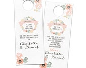 Whimsical Shabby Chic Rustic Floral Wreath - Custom Bridal Privacy Door Hanger for Guests or Welcome Bags - Charlotte Collection