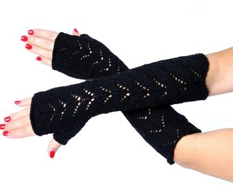 Knit fingerless gloves Long lace Fingerless Lace Fingerless mittens Arm Warmer Gloves Long Fingerless Lace gloves