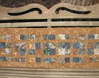Table Runner - Brown and Blue Batik Runner