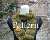 Knitting pattern - green forest crinkle scarf with button - Listing108