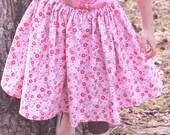 pink red white flower twirly skirt Valentine's Day size 4-7