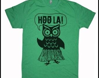 Men's Retro Hawaii Hoola Owl T-Shirt Grey Hula