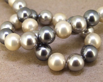 """12mm  Luster 3Color  South Seashell Pearl beads Round Shell Pearl Full One Strand 15.5"""" in length 32beads Per Strand LB1025"""