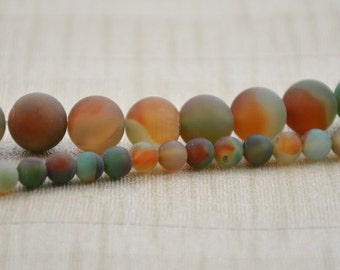 "Strand Round frosted surface Agate Beads --- 10mm  --- Green and Orange Gemstone Beads ---15~15.5"" in Length"