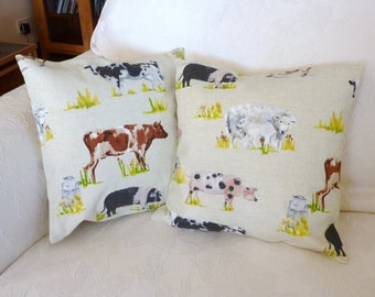 Pillow cushion featuring farmyard animals, 16 x 16 inch, pair plus runner