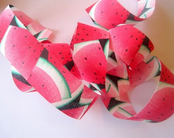 "Watermelon Cotton Ribbon Trim, Multi / Pink, 1 3/8"" inch wide, 1 yard, For Mixed Media, Gifts, Scrapbook,  Home Decor, Accessories"