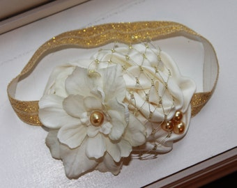 Gold and Ivory Baby Headbands, Christmas Headband, Baby Flower Headband, Newborn Headband, Baby Girl Headband, Photography Prop