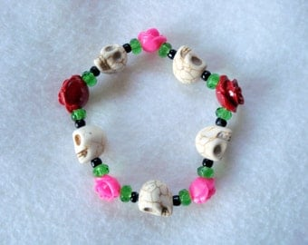Sugar Skull~Day of the Dead~ Skull and Roses Stretch Bracelet
