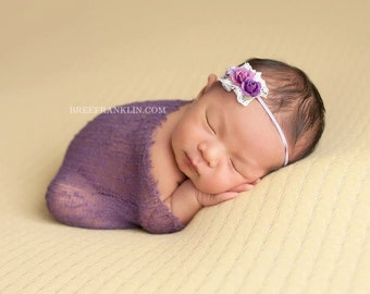 baby girls purple headband..girls purple headband..vintage purple headband..newborn headbands..girls purple headband..purple headband..