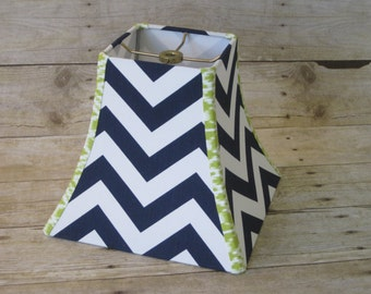Lamp Shade Chevron Zig Zag Lampshade in Navy Blue and Lime Green