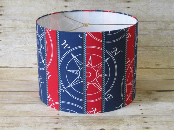 items similar to lamp shade drum lampshade nautical navy. Black Bedroom Furniture Sets. Home Design Ideas