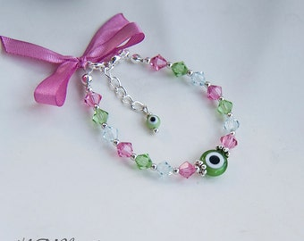 Kids Swarovksi Crystal Beaded Bracelet With Evil Eye Pink And Green Little Girls Protection Children Jewelry Gift For Child