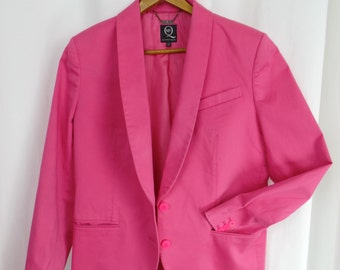 90s Alexander McQueen pink brushed cotton shawl collar jacket/ rubber buttons/ authentic all tags: size 46= US 8