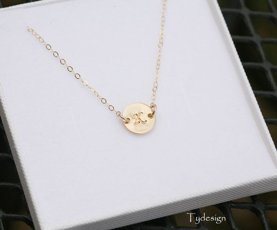 Monogram Necklace, Personalized,GOLD Initial Disc Charm Necklace,Small initial letter charm,Mother's Jewelry,Daily Jewelry