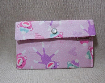 Adorable Pink Sock Monkey Fabric Pouch