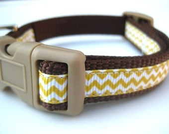 """Brown & Yellow Chevron Collar. 5/8"""" wide, available in S and M"""