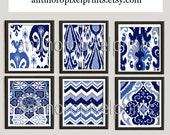 Ikat Damask Navy Blues White Prints, Set of (6) Wall Art Prints, Custom Colors Sizes Available, Custom Colors Available
