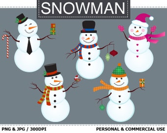 70% OFF SALE 5 Digital Snowman Clip Art Winter, Christmas, Snowmen, Snow Clip Art,