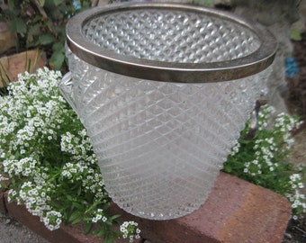 Crystal and Silver Ice Bucket Great for Party or Family Reunion :)S