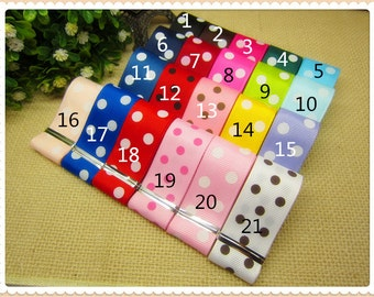 5 YARDS of 7/8 Grosgrain Polka Dot Ribbon - YOU PICK the Color