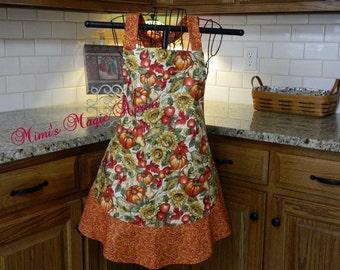 Womens Full Size Apron / Retro Apron / Handmade Apron / Full Designer Kitchen Apron / Pumpkin  with Apples / Thanksgiving Apron