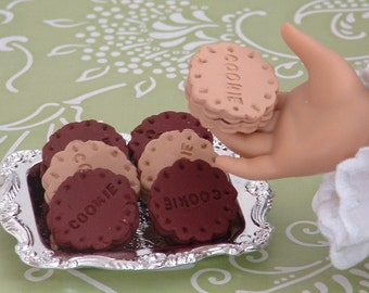 Six Sandwich Cookies on Tray for American Girl