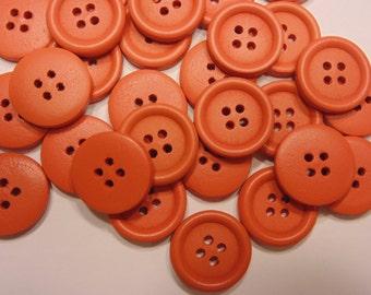 7 orange wood buttons, 20 mm ( 2)