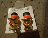 Reserved for SMACMURDY    Vintage Halloween Earrings.  Skulls, Gold tone with Enamel, Fun, Post Style, Made in USA