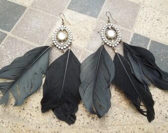 Vintage Feather Earrings, with Rhinestones.  Long Dangle Style.  Hook Type