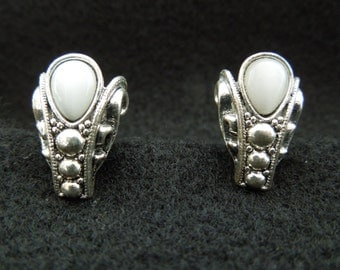 Vintage Avon Earrings, Clip On Type.  NR.  Silver Toned with White Semi Translucent Stone.