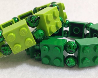 LEGO Stretch Bracelet with Green Metallic Beads