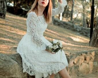 Short Wedding Dress, SuzannaM, 50s Ivory Dress, Sleeve Bridal Dress, Open Back Dress, Vintage Bridal Dress, Lace Wedding Gown, Tea Length