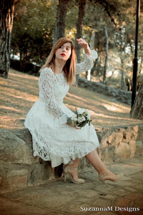 Long Sleeve 50s Wedding Dress : Short wedding dress suzannam s ivory sleeve bridal