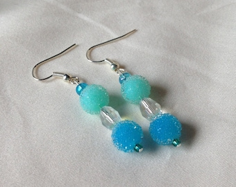 Dangle Pierced Earrings Silver with Frosty Blue Glass Beads and Clear Glass Crystal Accents