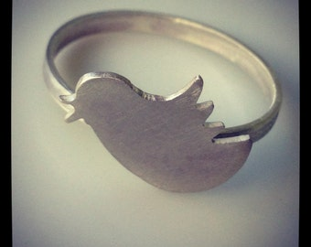 Sterling silver twitter bird ring
