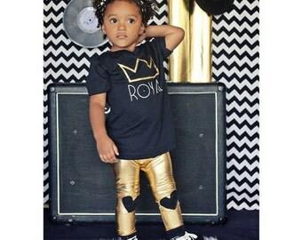 Trendy Rocker Infant/toddler Gold Bling Leggings with black hearts on knees