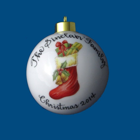 Personalized Hand Painted Christmas Ornament with Stocking