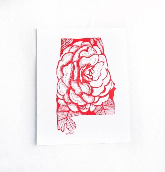letterpress alabama camellia by thimblepress on etsy