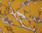 "Yellow Pillow Cover- Mustard Pillow- Bird Pillow- Yellow Floral Pillow- Yellow Cushion ,16 x16, 17 x 17, 18"" x 18"