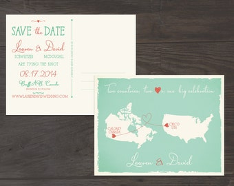 Destination wedding invitation Mint Green Coral Two Countries Two Hearts One big celebration Save the Date Postcard US canada Wedding