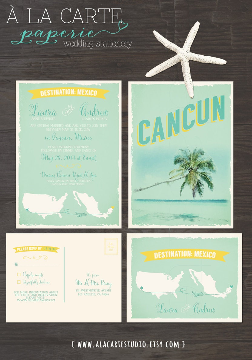 destination wedding invitations destination wedding invitation cancun mexico by 3505