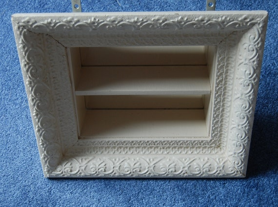 Vintage painted shadow box back mirror shelf by for Mirrored box shelves