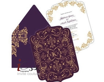 Die Cut Custom Luxury Invitations - Custom Lasercut invitations - Custom Diecut Metallic Invitations by InviteCouture