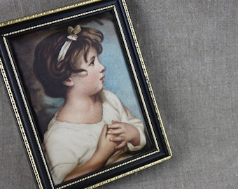 Small Age of Innocence Vintage Padded Picture in Frame Girl in Black and Gold Frame