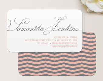 Chevron Business Card / Calling Card / Mommy Card / Contact Card - Designer Business Card, Modern Business Card, Clean Business Card, Chic
