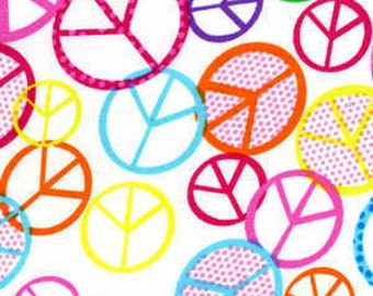 Timeless Treasures fabric PEACE SIGNS on White