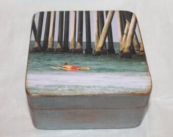 Wooden beach box, photo box, surfer box